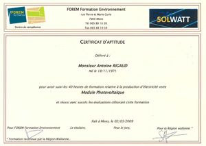 Oxira - Certification Solwatt